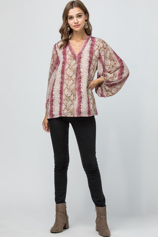 Burgundy Reptile Print V- neck Top w/bubble sleeve detail