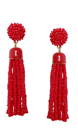 Red Beaded Tassel Earrings