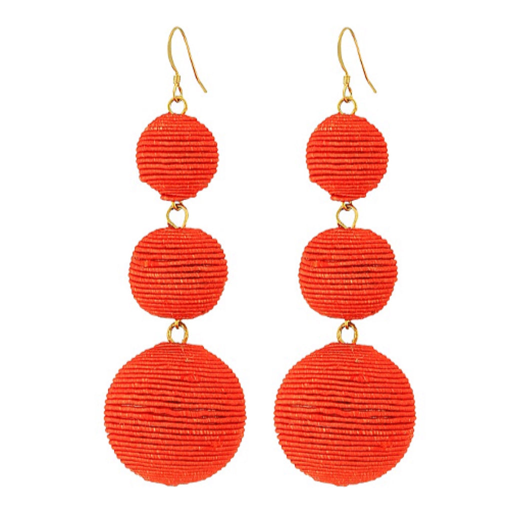 Cajun Red Three Ball Earrings