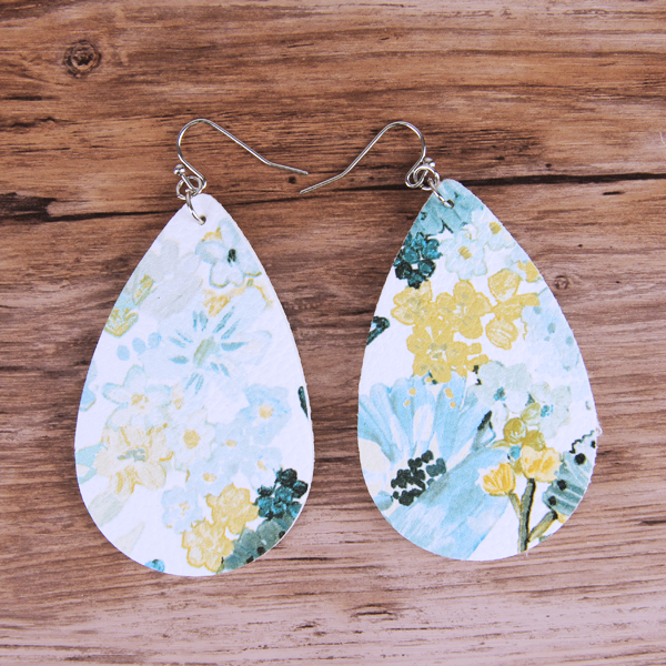 Floral Teal/Yellow Teardrop Leather Lightweight Earrings