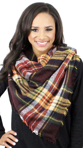 Plaid Blanket Scarf Coffee