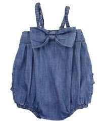 Blue Jean Bow Bubble w/ruffles