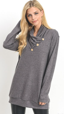 Solid Charcoal Top w/button detail cow neck
