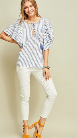 Pinstripe peasant top featuring embroidery details Blue