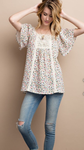 Wing Sleeve Floral Print Top