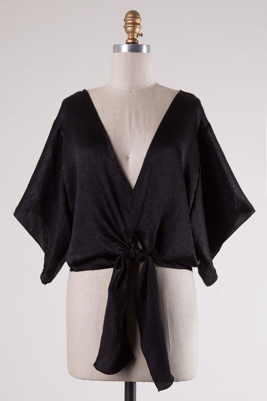 Black Satin Woven V-Neck Front Tie Top