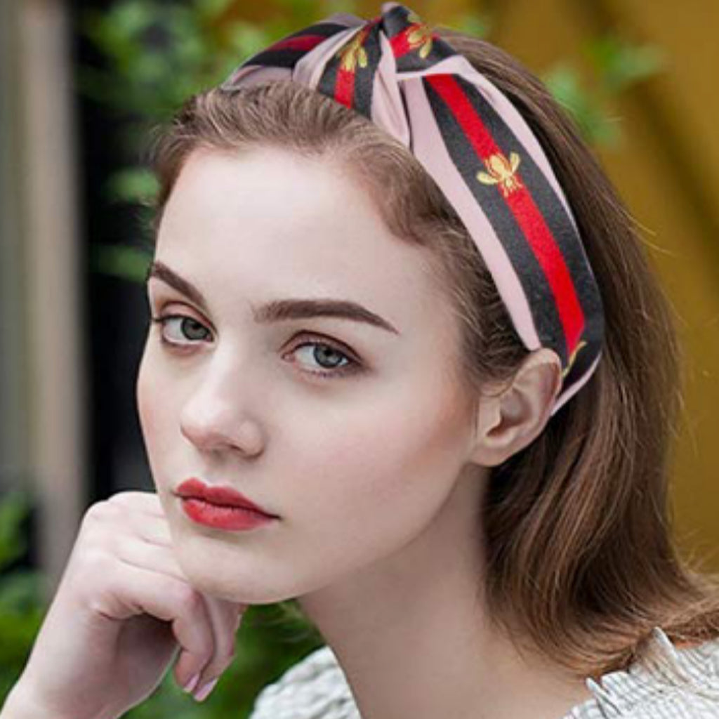 Pink/Red/Green Gold Bee Embroidery and Stripe, Wide Knot Hairband