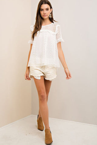 Off White Solid Crochet Boxy Top
