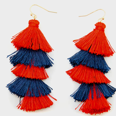Red and Navy Tassel Earrings