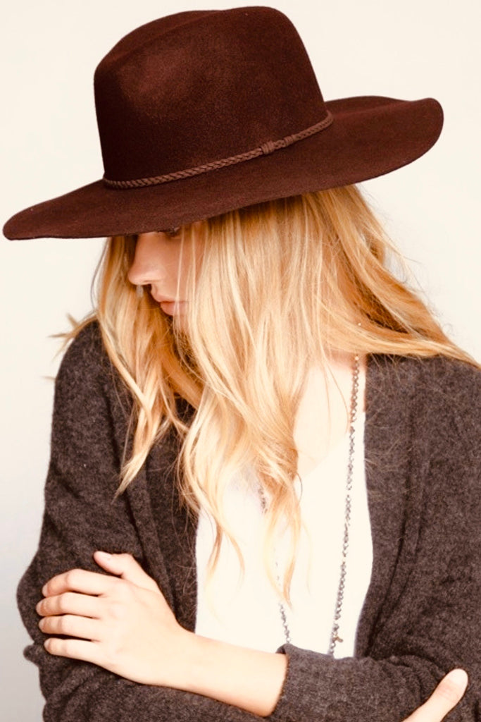 Wide Brim Brown Hat