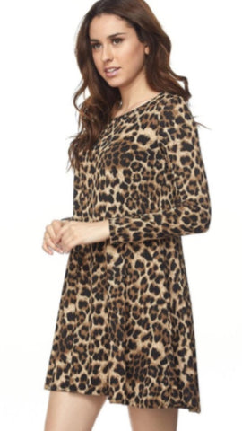 Leopard Print Shift Dress