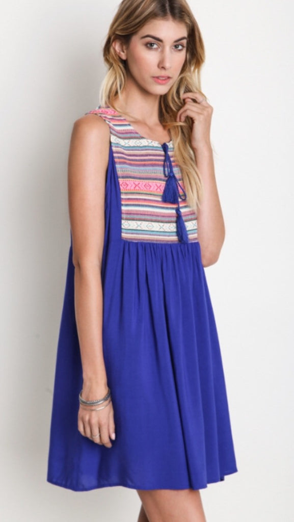 Tribal Peasant Dress Cobalt Blue