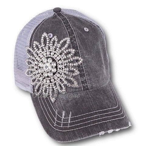Bling Bling Flower Baseball Cap Grey