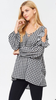 Checkered V-Neck Top w/crisscross Ruffled Cold Shoulder Black
