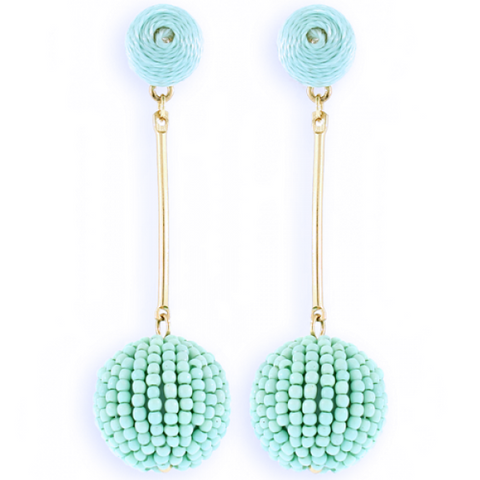Mint Ball Beaded Earrings