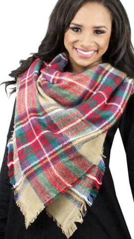 Plaid Blanket Scarf Beige