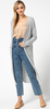 Solid open-knit duster cardigan Grey