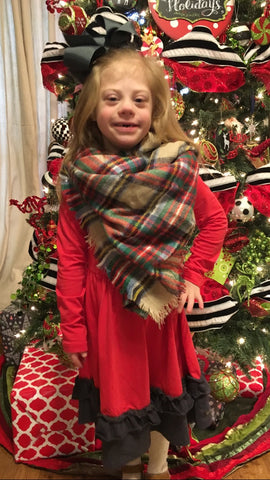 Kids Plaid Blanket Scarf Beige