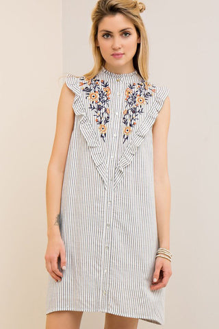 Charcoal Embroidery Dress w/pockets