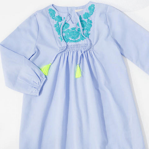 Blue Embroidered Dress with Tassel Bow Tie
