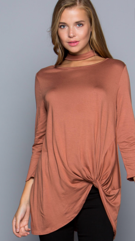 Modal Fabric Twisted Front Choker Top Brick