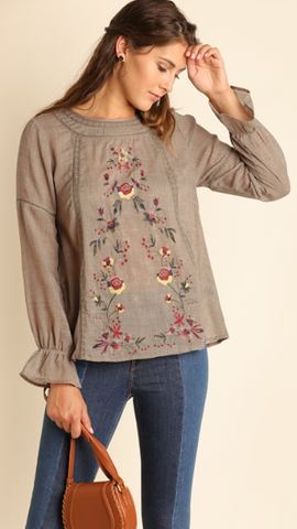 Floral Embroidered Top Mocha