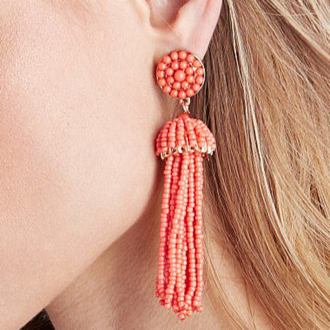 Coral Tassel Earrings Beaded