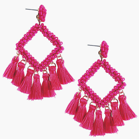 Hot Pink Diamond Beaded Tassel Earrings