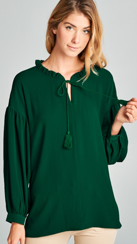 Bishop Sleeve Hunter Green Top