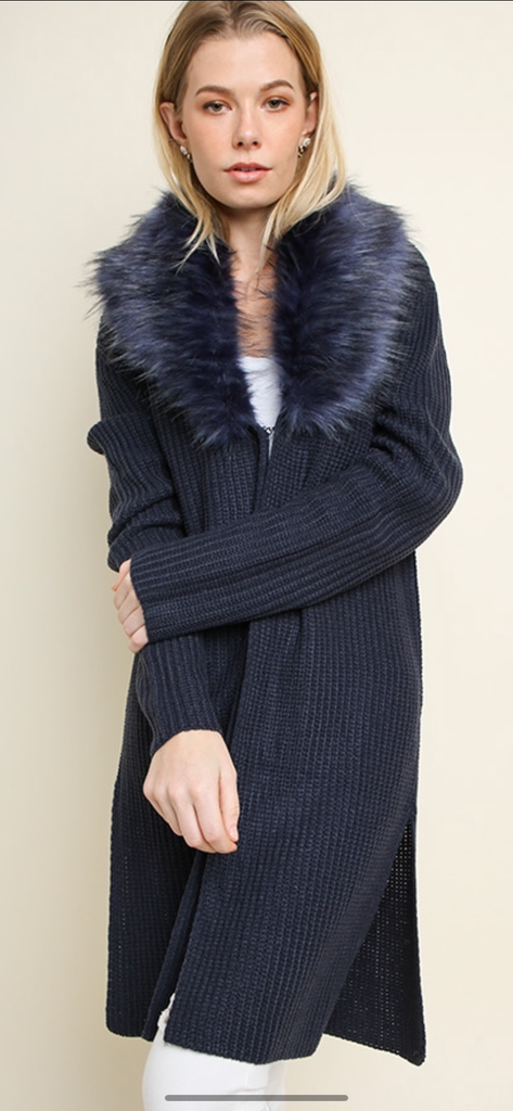 Funky Navy Fur Sweater