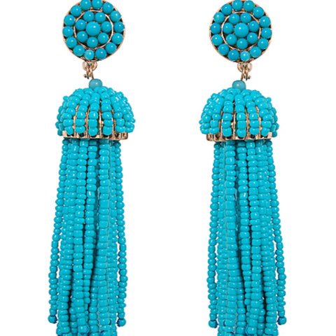 Deep Ocean Blue Tassel Earrings