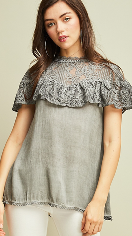 Charcoal Lace yoke short sleeve babydoll top featuring lace overlay detail