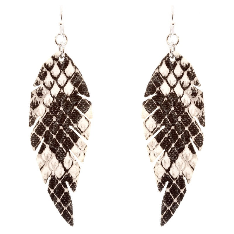 Snake Print leathered lightweight earrings