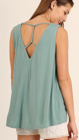 Sleeveless Top with Open Strap Detailed Back Dusty Mint