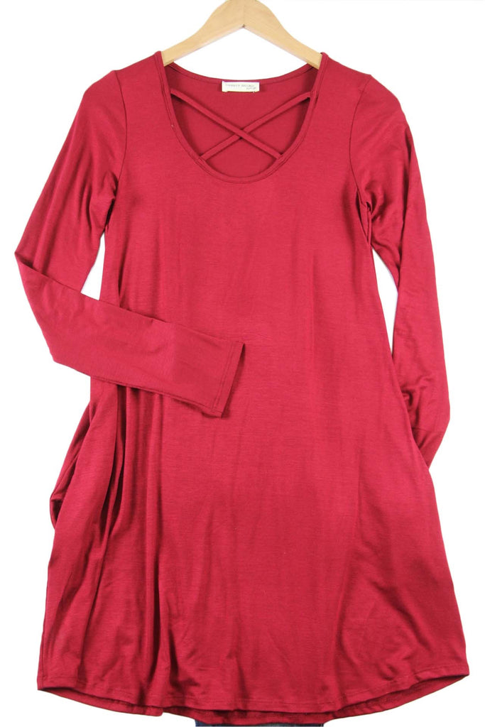 Cranberry Criss Cross Dress w/Pockets
