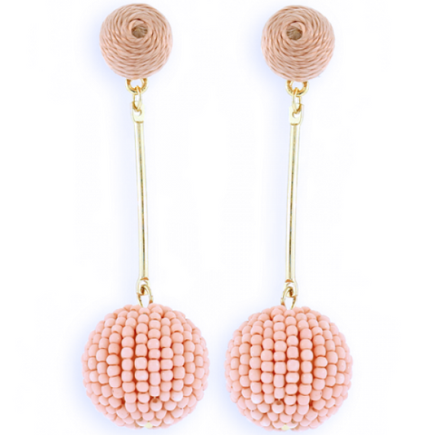 Blush Ball Beaded Earrings