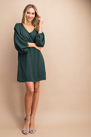 Hunter Green Ballon Sleeve Dress