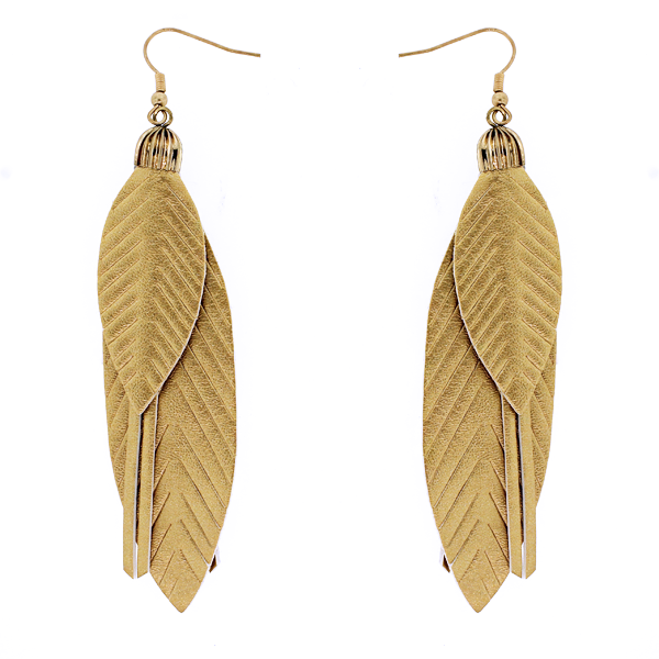 Gold Lightweight Feather Leather Earrings