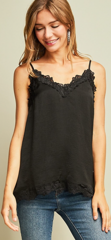 Black Satin Camisole Top w/lace trim detail