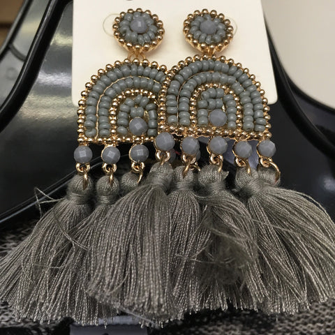 Grey Gold Tassel Earrings