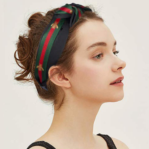 Black/Red/Green Gold Bee Embroidery and Stripe, Wide Knot Hairband