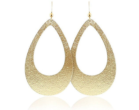 Gold Leather Lightweight Teardrop Earrings