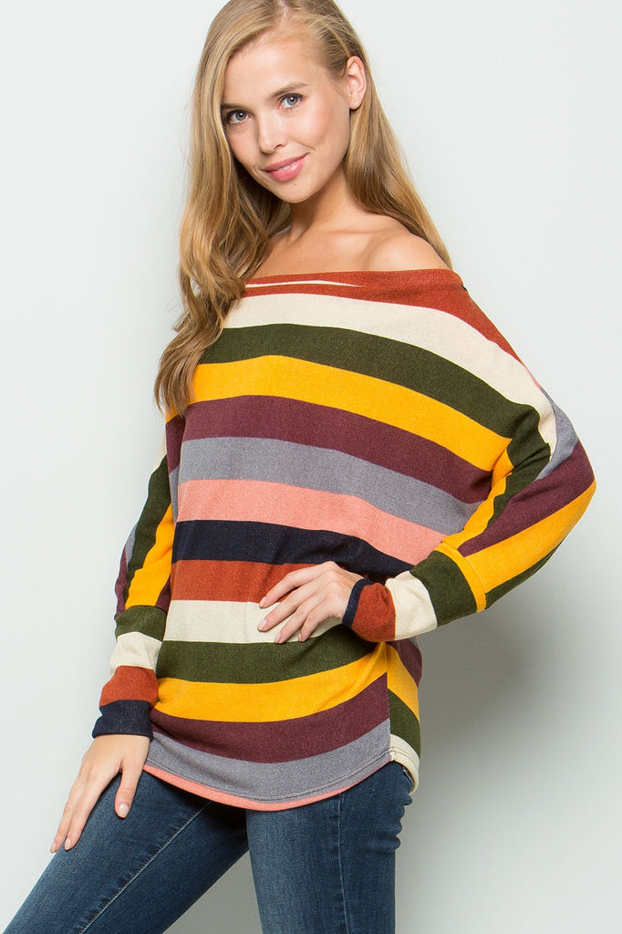 Multi Color Stripe off the Shoulder Top