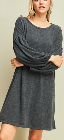 Charcoal Scoop-Neck Dress w/Balloon Sleeve detail