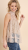 Taupe Lace High Neck Top