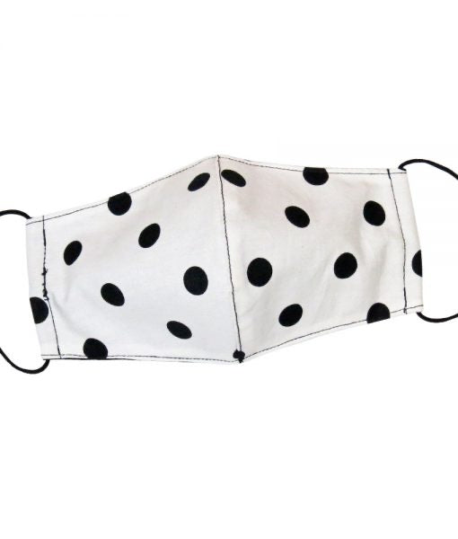 White w/Black Polka Dot Mask