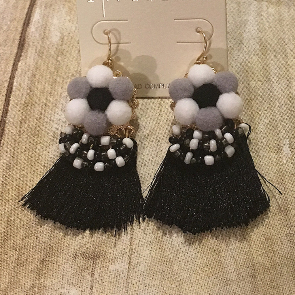 Black/White Tassel Beaded Earrings