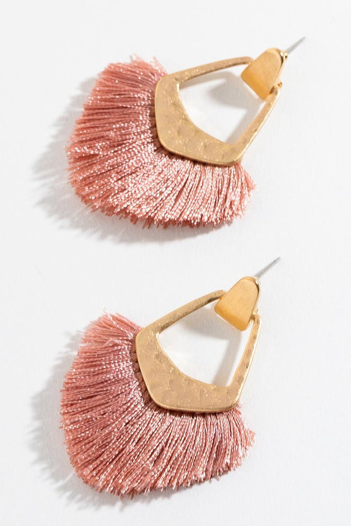 Blush Gold Tassel Fan Earrings