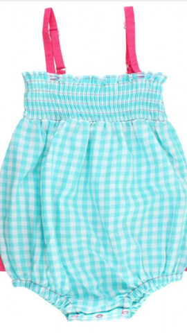 Seafoam Gingham Rouched Bubble