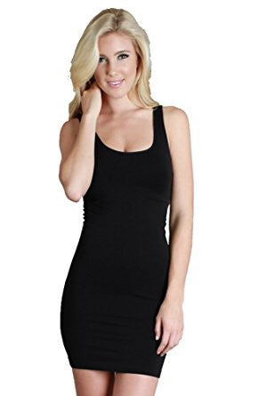 Black Wide Strap Long Tank Dress